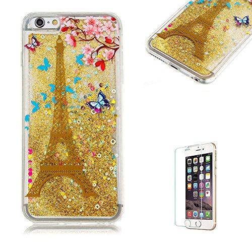 """Für iPhone 6 Plus/6S Plus 5.5"""" Durchsichtige Hülle,Für iPhone 6 Plus/6S Plus 5.5"""" Crystal Clear Flüssig Hülle Schutz Handy Case Hülle,Funyye Nette Kreative Komisch 3D Flüssigkeit Schutzhülle Bunten Mu Goldener Eiffelturm"""