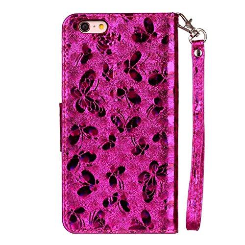 iPhone 6 Plus Hülle, SHUNDA Brieftasche Schutzhülle Flip Leder Handyhülle mit Kippständer Bling Schmetterling Bookstyle Handycover für iPhone 6 Plus / 6S Plus - Rot Hot Rosa