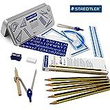 Staedtler Back to School Lot de–10pièces pour instruments de mathématiques en boîte cadeau en métal + 12Grade H Noris Crayons