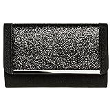CASPAR TA345 Damen elegante XL Glitzer Clutch Tasche Abendtasche mit Metallspange, Farbe:schwarz;Größe:One Size