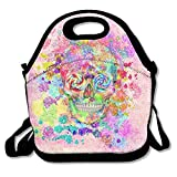 Fgrygf Cute Sugar Skulls Super Lunch Bag Tote Handbag Lunchbox Food Container Tote Cooler Warm Pouch for School Work Office High quality