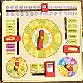 Foxom Juguete Educación, DIY Madera Multifuncional Juguete de Aprendizaje Diario El Reloj Calendario Temporada Rompecabezas de Aprendizaje Juguete Educativo para Niños, Color de Madera de Foxom