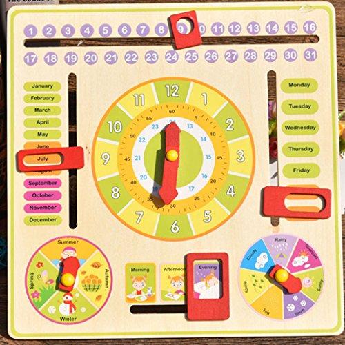 Foxom Juguete Educación, DIY Madera Multifuncional Juguete de Aprendizaje Diario El Reloj Calendario Temporada Rompecabezas de Aprendizaje Juguete Educativo para Niños, Color de Madera