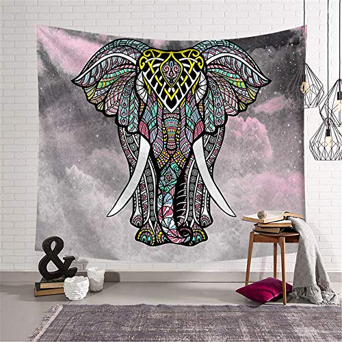 Morbuy Psychedelic Elefant Wandteppich, Tapisserie Kreativ Design Motiv Wandbehang aus Polyster Wandtuch Tischdecke Meditation Yogamatte Strandtuch (Groß (150 x 200cm), Rosa grau)