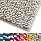 Chenille Badematte Manta | moderner Microfaser Badvorleger in Trendfarben | ÖKO TEX Standard 100 | extra hoch | Komfortgröße 50x80 cm für Badezimmer | Beige - Weiß
