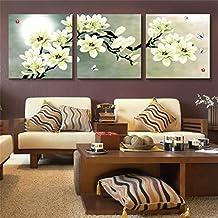 Magnolia Cuadro en Lienzo 50x50*2.5 cm - 3 partes - Impresion en calidad fotografica - Cuadro en lienzo tejido-no tejido
