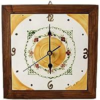 Orologio da muro Cornice in Legno Massello Ceramica Cucina Linea Fiori Realizzato e Dipinto a mano Le Ceramiche del…