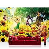 Fototapete 368x254 cm PREMIUM Wand Foto Tapete Wand Bild Papiertapete - Disney Tapete Fairies Die Feen Kindertapete Feen Sonnenblumen Feld gelb - no. 1988