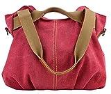 Aivtalk - Rétro Sac à Main/Bandoulière/Porte Epaule Besace en Toile Large Capacité Sacoche Bag Casual Bag pour Femme Fille Loisir Vintage Sport Activité d'Extérieur 30*35*17CM - Rouge