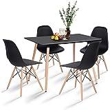H.J WeDoo Table de Salle à Manger avec 4 chaises, Rectangulaire Table en MDF avec 4 Chaises Scandinave pour Mmaison, Bureau,