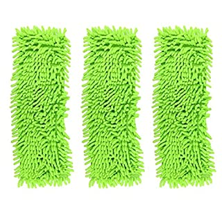 Accessotech Extendable Microfibre Floor Mop Cleaner Sweeper Wooden Laminate Tile Wet Dry (x3 Replacement Mop Heads Green)