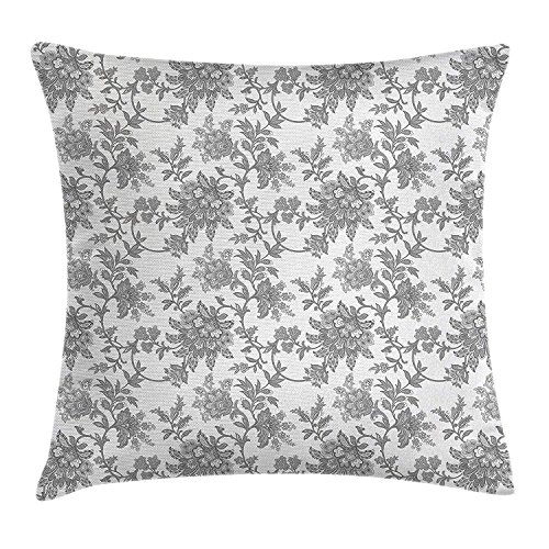 ghkfgkfgk Monochrome Ethnic Petals Asian Traditional Nature Influences Essence Artwork PrintFloral Throw Pillow Cushion Cover Decorative Square Accent Pillow Case 18 X 18 Inches Dimgray -