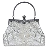 Bagood Damen Vintage Clutches Geldbörsen Abendtaschen Handtasche Schultertasche Seed Perlen Pailletten Blume für Hochzeit Braut Prom Party Silber