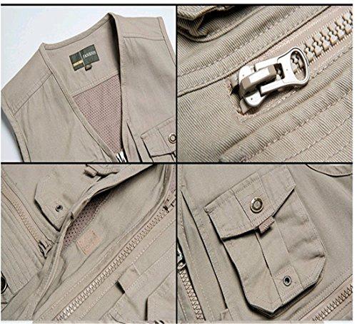 WS668 Herren Mehrfachtasche Reißverschluss Slim-Fit Weste Fotografie Weste Baumwolle Weste Mantel Classic Mens Coats Khaki-15#