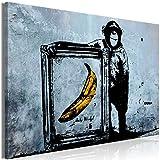 decomonkey | Bilder Banksy Affe 90x60 cm | 1 Teilig | Leinwandbilder | Bild auf Leinwand | Vlies | Wandbild | Kunstdruck | Wanddeko | Wand | Wohnzimmer | Wanddekoration | Deko | Banane Beton Mauer blau