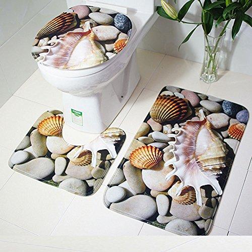 FeiliandaJJ 3pcs Badematten Set Rutschfest,Teppiche 3er Badgarnitur Badezimmer Matte Set 3D Muster Dusch Bade Matte Vorleger Teppich für Wohnzimmer, Schlafzimmer, Schwimmbad Toilet (C) (3pc Teppiche Wohnzimmer)
