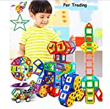 Per 166 Stk Magnetische Bausteine mit Aufbewahrungsbox für Kinder, 3D DIY Educational Kleinkind Baukonstruktion Ziegel Spielzeug für Kreativität Fantasie Hirnentwicklung