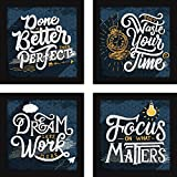 Fatmug Paper Motivational Framed Wall Hanging Posters (Multicolour) - Set Of 4