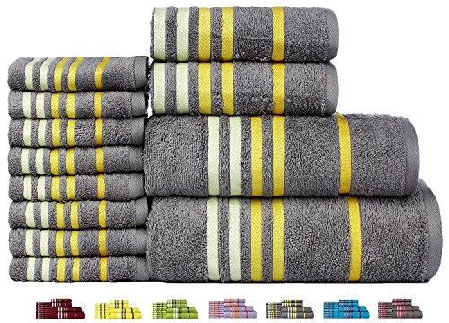 Casa Copenhagen Exotic Kollektion 475 g/m² Baumwolle 12 teiliges Badetüch, Handtüch und Seiftücher Set, Glacier Grau - Moderne Handtuch-kollektion