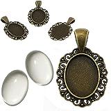 Perlin - Set di 6 medaglioni in metallo e ovali in vetro trasparente da 18 x 13 mm con taglio cabochon, color bronzo,set per