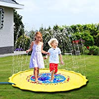 "Sprinkler Pad & Splash Play Mat for Kids, 68"" Toddler Sprinkler Water Toys Inflatable Outdoor Swimming Pool Toy for Boys Girls, Undersea Animal"