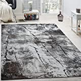 Paco Home Edler Designer Teppich Wohnzimmer Abstrakt 3D Used-Style Naturtöne Grau, Grösse:160x230 cm