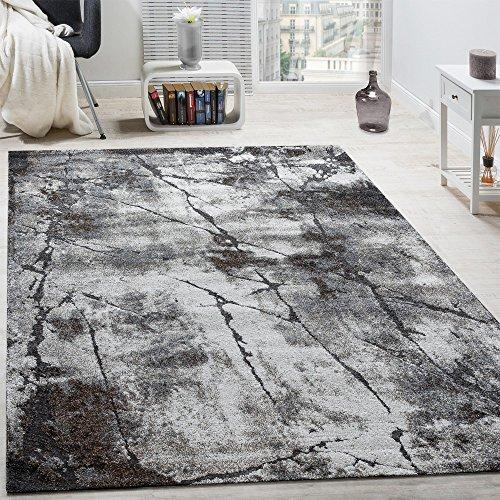 Paco Home Edler Designer Teppich Wohnzimmer Abstrakt 3D Used-Style Naturtöne Grau, Grösse:120x170...