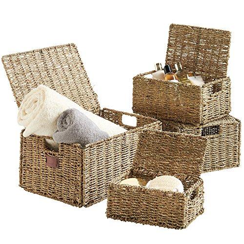 VonHaus Set aus 4 Seegras Regal Korb mit Eingefügten Griffen und Deckel | Aufbewahrungskörbe/Regalbox/Schrankkorb | Schlafzimmer/Wohnzimmer/Badezimmer | Natürliches Material