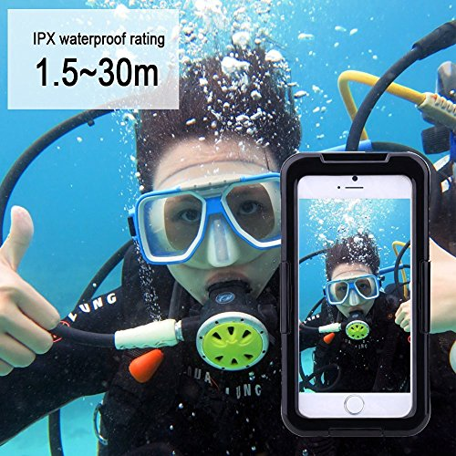 Julyfox IPX8 Professional Waterproof Case For iPhone 7(4.7 inch) Scratchproof Touch Compatible(Yellow) Black
