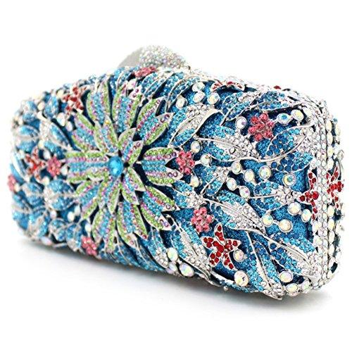 Santimon Clutch Delle Donne Flore Borsa Di Strass Diamante Cristallo Da Festa di Nozze Sera Con Tracolla Amovibile e Pacco Regalo 8 Colori blu