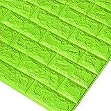 Godagoda 3D Ziegel Tapete Wandaufkleber Selbstklebend Stereo Wandtattoo Papier für Schlafzimmer Kinderzimmer TV Hintergrund 60x30cm Dunkelgrün