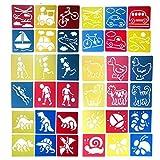 Hillento 6 packs (36 pièces) peinture pochoir en plastique animaux modèles de dessin pour enfants pour...