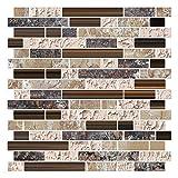 Render 6 Pièces 3D Auto-Adhésif Tuile Murale Autocollant, Peel and Stick Papier Peint Vinyle Anti Moule Salle De Bains Cuisine Décoration 0.84 sq.ft/pièce (Style de Marbre Brun)