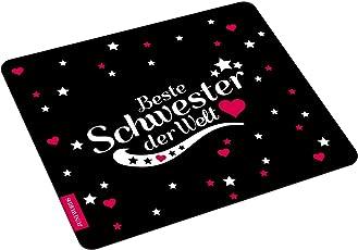 """Wandkings Mousepad / Mauspad mit Schriftzug """"Beste Schwester der Welt"""" - ideales Geschenk für Schwestern"""