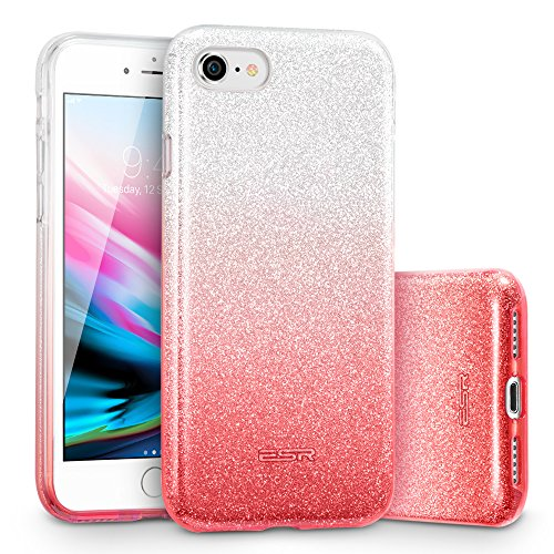 ESR iPhone 8 Hülle, iPhone 7 Hülle, Luxus Glitzer Bling [Glänzende Mode][Ultra Dünn] Designer Schutzhülle für Apple iPhone 8/7 4.7 Zoll 2017 Freigegeben. (Silber/Rosa)