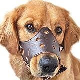 feiling PU Leder Hunde Maulkorb Ermöglicht Trinken Anti-Beiß Maulkörbe Anti-Bell Training Korb Verstellbares (S, Braun)