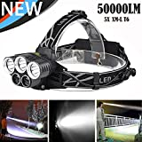 AMH LED Stirnlampe, 50000 Lumen, Wasserdicht Taschenlampe, 5X XM-L T6 LED, USB Wiederaufladbare Kopfleuc