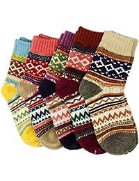 Heekpek® 5 Pares de Calcetines Para Mujeres-Ideales para Invierno Tamaño EU 38-46 (5 colores)