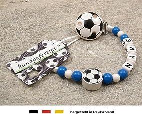 Baby SCHNULLERKETTE mit NAMEN   Motiv Fussball in Vereinsfarben - blau, weiß