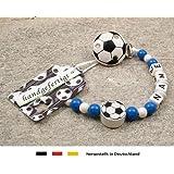 Baby SCHNULLERKETTE mit NAMEN | Motiv Fussball in Vereinsfarben - blau, weiß