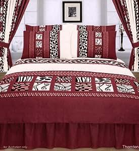 Double Bed Duvet Cover Set Thornton Terracotta Red