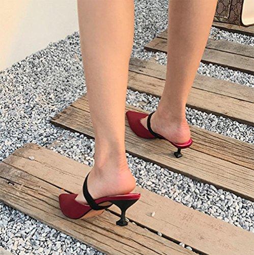 Baotou hohle Fein mit spitzen Pantoffeln Sommer Sandalen und Pantoffeln weibliche kühle Pantoffel Red