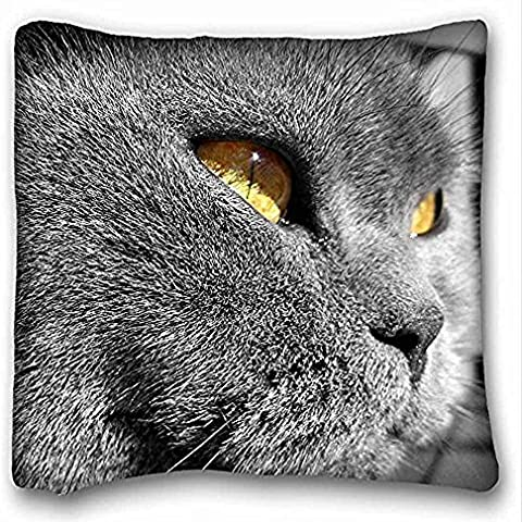 Decorativo Quadrato Throw Pillow Case animali Occhi di gatto grigio giallo 18 x 18 in due lati