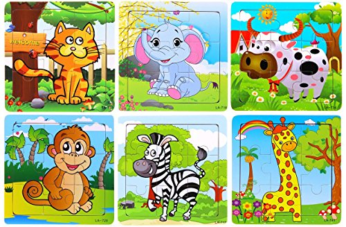 Vibgyor Vibes Wood Jigsaw Puzzles for Children- Pack of 6...