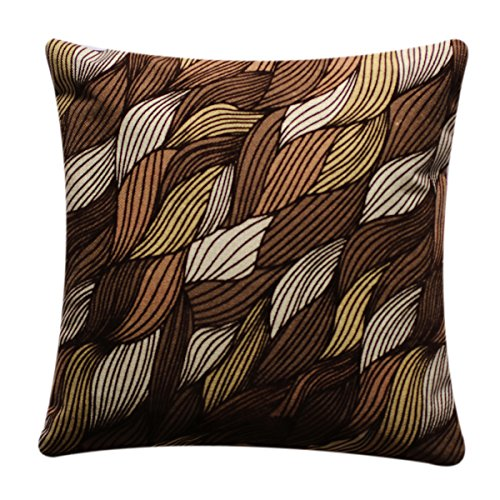 "Beautiful Abstract Leaf Print Colourful 17"" x 17"" Cushion Cover Pillow for Sofa Bed (Brown Beige)"