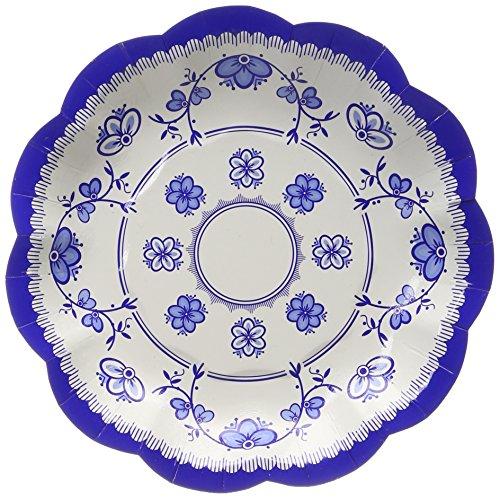 Talking Tables Party Porcelain Blue Petites Assiettes en Carton pour Fête d'Anniversaire et Goûter Festif, Bleu et Blanc, 18 cm (Paquet de 12 contenant 3 modèles)