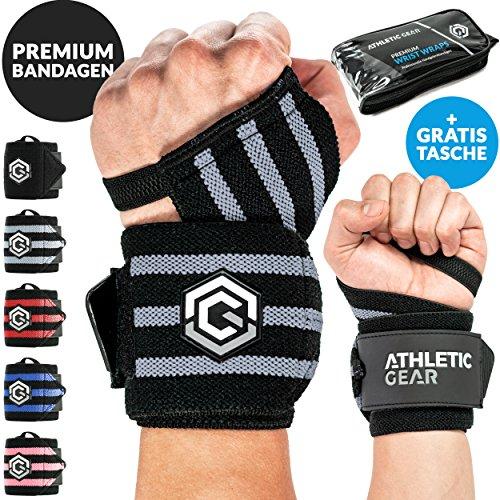 INNOVATION Handgelenk Bandagen mit Handschlaufe - 2er Set (60 cm) Handbandagen für Krafttraining, Fitness und Sport I Unisex Wrist Wrap Orthese Bandage Handgelenkstütze Stützbandage (Schwarz-Grau)