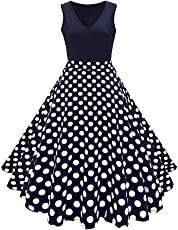 Women Vintage Sleeveless Dress Elegant Printing Cocktail Party Tank Dress Size XL (Dot)