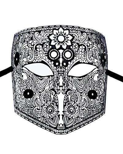 Maske Herren venezianischen Larva die Bauta aus Metall schwarz Ende,, Motiv Vintage, Maskenball Elegantes (Herren Ende)
