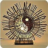 Deko-Leuchte Stimmungsleuchte Stehleuchte Tischleuchte Tischlampe Bali Lampe Feng Shui Yin & Yang Sonne Farbe Weiß